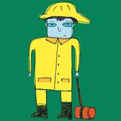 man in a raincoat. dean stanton artist. calgary art. ilovestanton.com