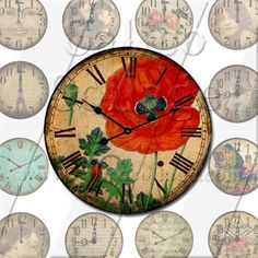 Clock Faces  Digital Collage Sheet  15 Inch by calicocollage, $3.75