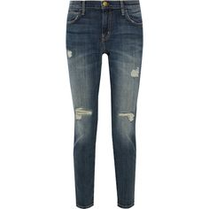 Current/Elliott The Slouchy Stiletto distressed mid-rise skinny jeans ($99) ❤ liked on Polyvore featuring jeans, mid denim, mid-rise jeans, destroyed jeans, blue skinny jeans, distressed jeans and ripped jeans