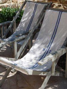Deck chairs with grain sack seats Coastal Homes, Coastal Living, Grain Sack, Outdoor Living, Outdoor Decor, Take A Seat, Beach Chairs, Beach Cottages, Coastal Style