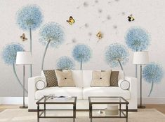 Floral Walpaper Dandelion Flower Wall Mural Butterfly and Watercolor Wall Art British Home Decor Caf Feature Wallpaper, Wall Wallpaper, Living Room Paint, Living Room Decor, British Home Decor, Wallpaper Furniture, Primitive Dining Rooms, Wall Painting Decor, Bedroom Furniture Sets