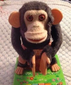 1960s Vintage BATTERY OPERATED Tin Toy Japan DANCING MERRY CHIMP parts or repair #vintagetoys