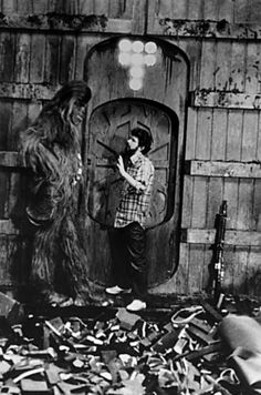 George Lucas and Chewbacca on set.