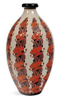 Vase à décor tricolore de fleurs stylisées for Léon Lambillotte by Charles Catteau