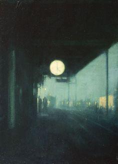 (Title not found,) Art by Ben McLaughlin Nocturne, Urban Landscape, Landscape Art, Painting Inspiration, Art Inspo, Plakat Design, Aesthetic Art, Dark Art, Art Drawings