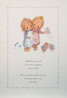 "Betsey Clark Precious Moments - ""Solitude is Very Sad"" - 1972 Vintage Book Page"