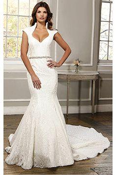 Classic Mermaid Lace Cap Sleeves Empire Wedding Dresses