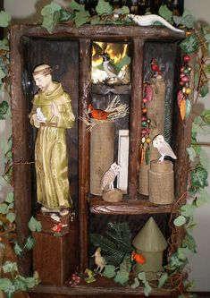 OOAK St. Francis with the Birds, Owls Assemblage ....some pieces not the best, but like layout
