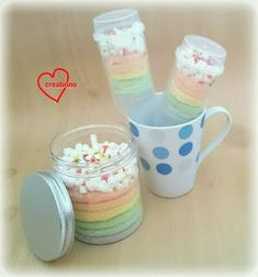 Loving Creations for You: Pastel Rainbow Chiffon Cake-in-a-Jar and Pushpops Chiffon Cake, Sponge Cake, Mason Jars, Pastel, Rainbow, Baking, Create, Tableware, Foodies
