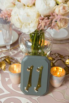 Brass and Pearl Table Number I LoLo Event Design Tabletop