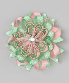 Loving this Mint & Pink Layered Flower Clip on #zulily! #zulilyfinds