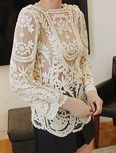 Embroidery Crochet Cutwork Sheer top