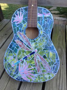 Koi Pond Dragonfly Mosaic Guitar CarlaAlexander on Etsy, $500.00