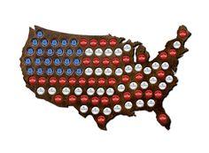 Magnetic Beer Cap Map of USA Craft Beer Bottle Cap Holder Beer