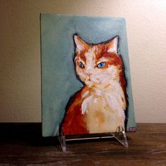 """""""Little Troublemaker, and by Trouble I Mean Fire"""" by Jason Edward Davis from Portland, OR. This painting is available in our shop - http://pussiesonparade.com/shop/  #cat #cats #catart #kitten #art #illustration #painting"""