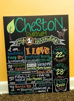 "Custom Hand Painted Birthday Chalkboard, 1st Birthday Hunting Forest Theme ""16x20"" by ArtByGillian, $60.00"