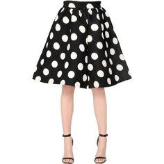 Amuse Women Polka Dot Printed Crepe & Neoprene Skirt (€245) ❤ liked on Polyvore featuring skirts, white polka dot skirt, crepe skirt, high waisted pleated skirt, polka dot skirts and dot skirt