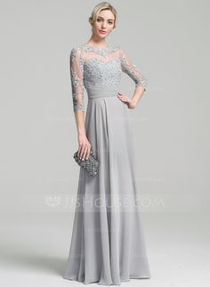 A-Line/Princess Scoop Neck Floor-Length Ruffle Appliques Lace Sequins Zipper Up Sleeves 3/4 Sleeves No Other Colors General Plus Chiffon Height:5.7ft Bust:33in Waist:24in Hips:34in US 2 / UK 6 / EU 32 Mother of the Bride Dress