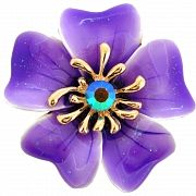 Enamel Purple Oleander Flower Pin Austrian Crystal Pin Brooch and Pendant(Chain Not Included)