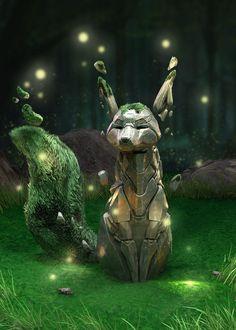 Cute Fantasy Creatures, Mythical Creatures Art, Magical Creatures, Creature Concept Art, Creature Design, Dark Fantasy Art, Animal Original, Desenhos Cartoon Network, Mystical Animals