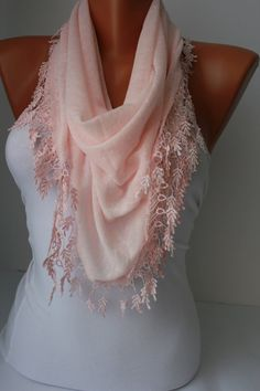 Soft pink Shawl Scarf  Headband Cowl with Lace by DIDUCI on Etsy, $15.50