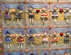 """QUILT: """"With You"""" by Tomoko Kamata, had block after block of these little people in all kinds of poses. Many Quilt Photos from the Tokyo International Quilt Festival 2015."""