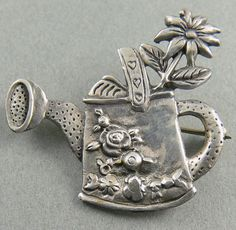 Vintage Sterling Silver Watering Can Flower Brooch