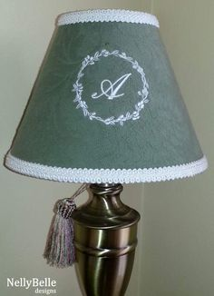 Comptoir de famille lampshade monogram chambray embroidered 22cm monogrammed lampshade ivory monogram on green nellybelle designs mozeypictures Image collections
