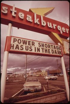 Original Caption: The Energy Crisis in the States of Oregon and Washington Resulted in Attempts at Humor by Businesses with Darkened Signs Such as This One in Vancouver, Washington 11/1973    U.S. National Archives' Local Identifier: 412-DA-12970    Phot Energy Source is our responsability to find new solutions.