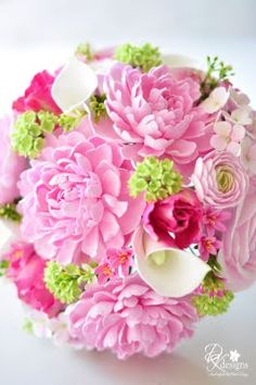 DK Designs: Pink and Green Bridal Bouquet and Boutonniere