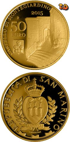 N♡T.50 euro: Castles of Faetano and Montegiardino Country:	 San Marino Mintage year:	2015 Issue date:	04.11.2015 Face value:	50 euro Alloy:	Gold Quality:	Proof Mintage:	750 pc proof