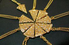 Colar de pedaço de pizza para BFFs