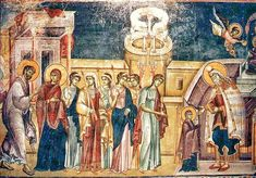 The Entrance of the Most Holy Theotokos into the Temple is one of the great Church feasts; it is connected with the event when the Most Holy Theotokos was brought into the temple of Jerusalem by her parents to be consecrated to God. Russian Icons, High Priest, Byzantine Icons, Infancy, 14th Century, Illuminated Manuscript, Fresco, Art Museum, Holi