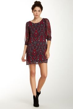 Want & Need Lattice Back Detail 3/4 Length Sleeve Chevron Print Shift Dress