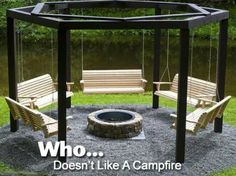 Who Doesn�t Like A Campfire I LOVE this!  It combines two of my favorite activities - roasting marshmallows over a fire pit and swinging!!  Just awesome!