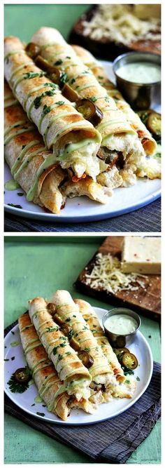 Slow Cooker Jalapeno Popper Chicken Taquitos from Creme de la Crumb start with boneless, skinless chicken breasts that cook with spices and cream cheese. Then the chicken is shredded apart and transformed into these amazing sounding Jalapeno Popper Chicken Taquitos. Chicken dinner from the slow cooker FTW. [Featured on SlowCookerFromScr...]