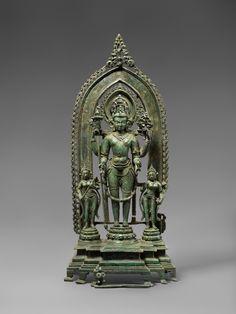 Vishnu with his Consorts Eastern India, Bengal/Bangladesh Region Pala Dynasty, circa 11th Century Bronze Height 16 1/4 in. (41.2 cm.)
