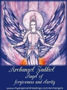 """Archangel  Zadkiel Name meaning: """"Righteousness of God""""  Will help us with clarity, forgiveness and new ideas. He also assists with emotional healing. He works on the rays of transmutation (change from one form/state to another). Place all your troubles and difficult relationships within his flame so that all negativity is transmuted into positive vibrations.  Crystal affinity: Lapis Lazuli.☀"""