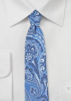 Paisley-Motiv-Businesskrawatte himmelblau perlweiß