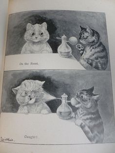 Nister's Holiday Annual for 1897 - Chromo Plates & Louis Wain Illustrations HB Louis Wain Cats, Louis Williams, Vintage Cat, Beatrix Potter, Cat Drawing, Art Studies, Kitty Cats, Cat Art, Animals And Pets