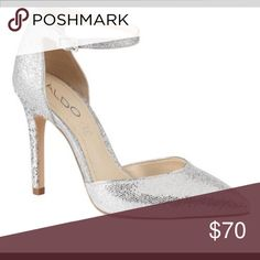 Aldo Silver Sparkle Anklam Heels Beautiful silver heels just in time for the Holidays... never worn box included Aldo Shoes Heels