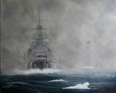 The Bismarck and the Prinz Eugen in the Denmark Strait on 24 May 1941.  Painting by British artist Jon Kindred.