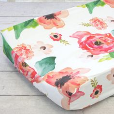Boho Chic Floral Girl Changing Pad Cover | Bright, Floral, Coral, Peach, Watercolor, Baby Girl Changing Table Cover | Floral Crib Set