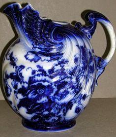 Flow blue pitcher