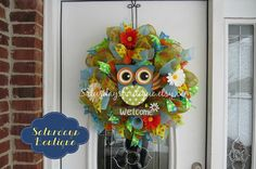 Welcome Owl Deco Mesh Wreath by SaturdaysBoutique on Etsy