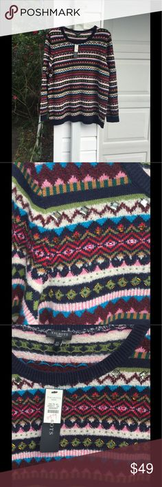 """NWT Talbots Cute Maroon Navy Green White Jewels So Fun! NWT Talbots cute Navy, Blues, White, Maroon, Green, Pink and Red that have jewels on some of the Patterned stripes sweater, 2X. Bust is 50"""", length 29"""". Put on with jeans or pants and you are out the door. Originally $119. Enjoy! Talbots Sweaters Crew & Scoop Necks"""