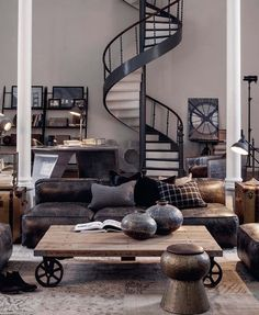 Industrial living room, metallic stairs