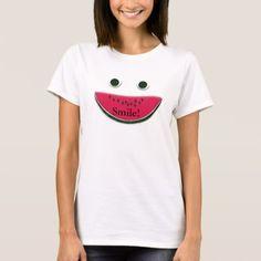 Silly Smiley Face Watermelon Slice T-Shirt - summer gifts season diy template ideas