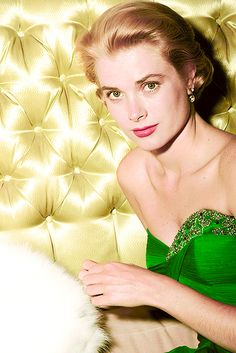 Grace Kelly wearing a green dress for St Patrick's Day, 1954. Photo by Gene Lester