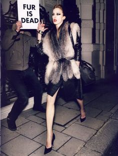 August 2008 issue of Vogue Paris photographed by Mario Testino featuring model Raquel Zimmermann, styled by Carine Roitfeld.